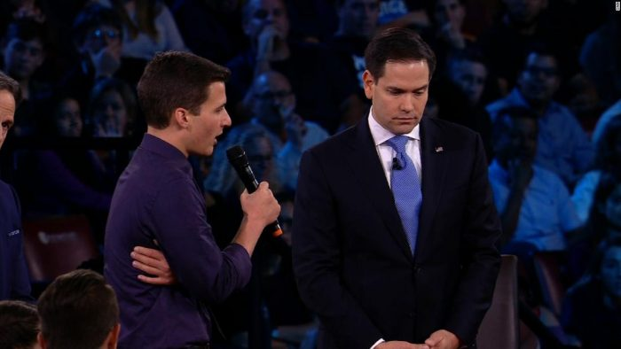 parkland teenager Cameron Kasky and Florida Senator Marco Rubio